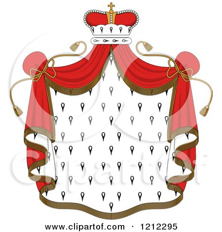 Clipart of a Crown and Royal Mantle with Red Drapes - Royalty Free Vector Illustration by Vector Tradition SM