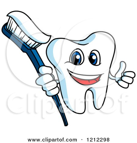 Clipart of a Happy Tooth Character Holding a Thumb up and Brush - Royalty Free Vector Illustration by Vector Tradition SM