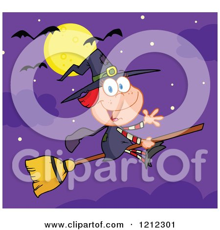 Cartoon of a Full Moon and Bats over a Halloween Witch Girl Waving and Flying on a Broomstick - Royalty Free Vector Clipart by Hit Toon