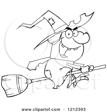 Cartoon of an Outlined Halloween Witch Flying on a Broomstick - Royalty Free Vector Clipart by Hit Toon