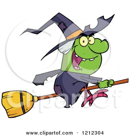 Cartoon of a Halloween Witch Flying on a Broomstick - Royalty Free Vector Clipart by Hit Toon