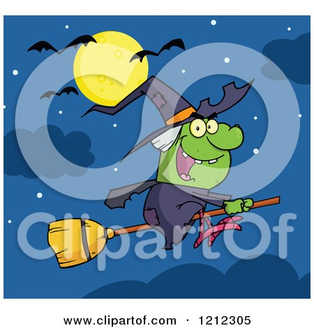 Cartoon of a Halloween Witch Flying on a Broomstick Under a Full Moon and Bats - Royalty Free Vector Clipart by Hit Toon