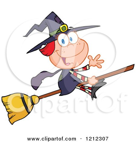 Cartoon of a Halloween Witch Girl Waving and Flying on a Broomstick - Royalty Free Vector Clipart by Hit Toon