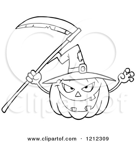 Cartoon Of An Outlined Scary Halloween Pumpkin With A Witch Hat And Scythe