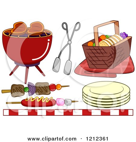 Cartoon of a Bbq Grill and Picnic Items - Royalty Free Vector Clipart by BNP Design Studio