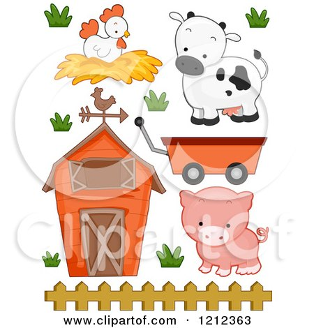 Cartoon of a Barn Chicken Cow Pig and Wagon - Royalty Free Vector Clipart by BNP Design Studio