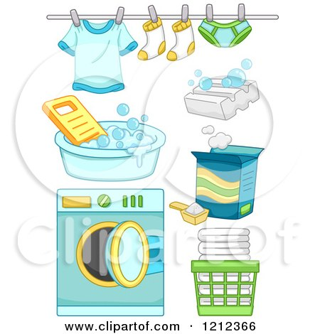 Cartoon of Green and Blue Boy Laundry Items - Royalty Free Vector Clipart by BNP Design Studio