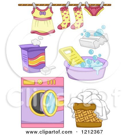 Cartoon of Girl Laundry Items - Royalty Free Vector Clipart by BNP Design Studio