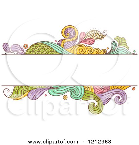 Cartoon of a Text Box over Abstract Colorful Scales and Splashes - Royalty Free Vector Clipart by BNP Design Studio