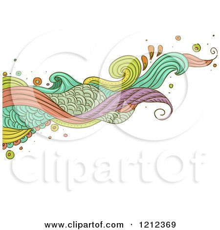 Cartoon of an Abstract Wave of Swirls on White - Royalty Free Vector Clipart by BNP Design Studio