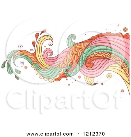 Cartoon of an Abstract Wave and Splash on White - Royalty Free Vector Clipart by BNP Design Studio