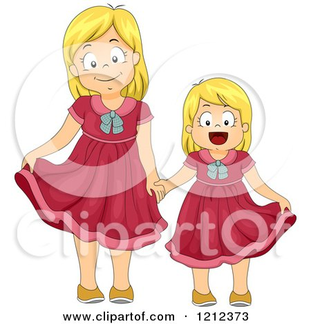 Cartoon of Blond Sisters Wearing the Same Dress - Royalty Free Vector Clipart by BNP Design Studio