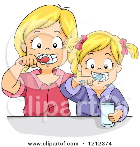 Cartoon of Blond Sisters Brushing Their Teeth Together - Royalty Free Vector Clipart by BNP Design Studio