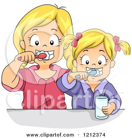 Cartoon of Blond Sisters Brushing