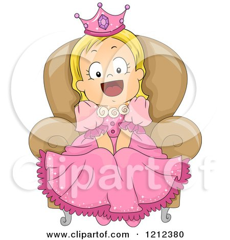 Cartoon of a Happy Blond Toddler Girl in a Princess Costume - Royalty Free Vector Clipart by BNP Design Studio