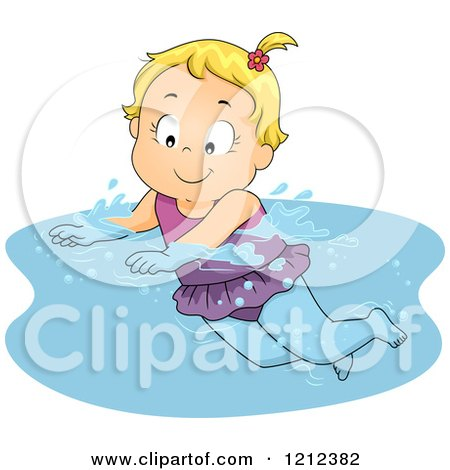 Cartoon of a Happy Blond Toddler Girl Swimming - Royalty Free Vector Clipart by BNP Design Studio