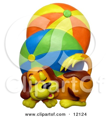 Clay sculpture of a cute puppy dog sleeping next to two large brightly colored beach balls Posters, Art Prints
