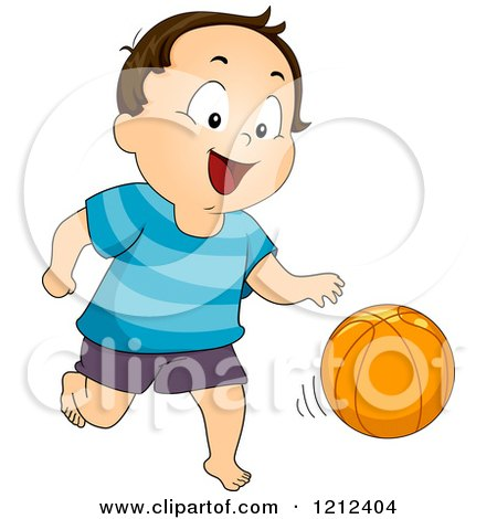 Cartoon of a Happy Toddler Boy Dribbling a Basketball - Royalty Free Vector Clipart by BNP Design Studio