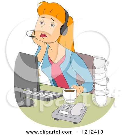 Cartoon of a Tired Female Customer Service Call Center Representative - Royalty Free Vector Clipart by BNP Design Studio