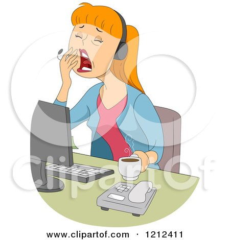 Cartoon of a Yawning Female Customer Service Call Center Representative - Royalty Free Vector Clipart by BNP Design Studio