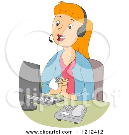 Cartoon of a Pleasant Female Customer Service Call Center Representative - Royalty Free Vector Clipart by BNP Design Studio