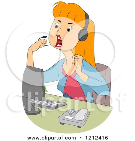 Cartoon of a Mad Female Customer Service Call Center Representative - Royalty Free Vector Clipart by BNP Design Studio