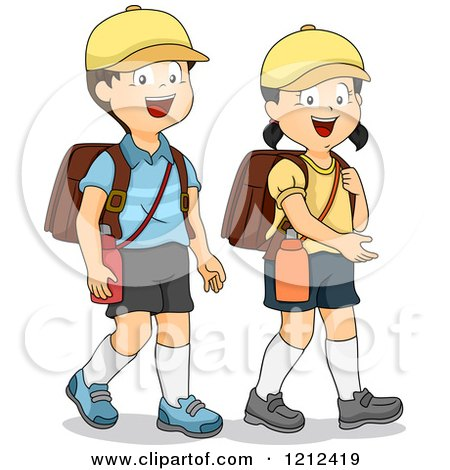 Cartoon of Happy Asian Children with Hiking Backpacks - Royalty Free Vector Clipart by BNP Design Studio