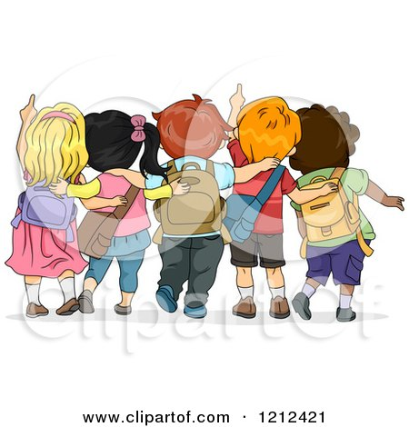 Cartoon of a Rear View of School Children Looking up and Pointing - Royalty Free Vector Clipart by BNP Design Studio