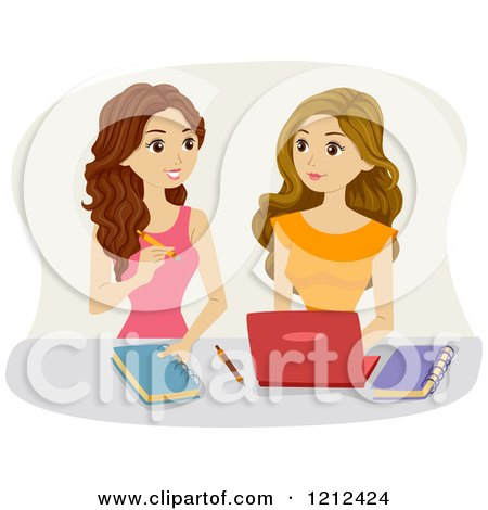 Cartoon of Teen Girls Studying Together - Royalty Free Vector Clipart by BNP Design Studio