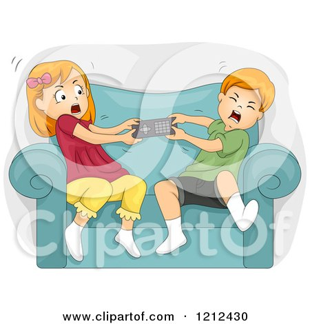 Cartoon of a Brother and Sister Fighting over a Remote Control - Royalty Free Vector Clipart by BNP Design Studio