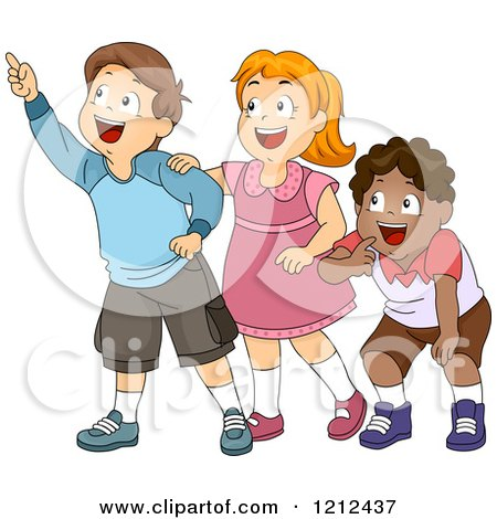 Cartoon of a Group of Happy Diverse Children Looking and Pointing - Royalty Free Vector Clipart by BNP Design Studio