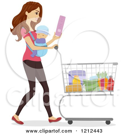 Cartoon of a Happy Woman Grocery Shopping with Her Baby on Her Chest - Royalty Free Vector Clipart by BNP Design Studio