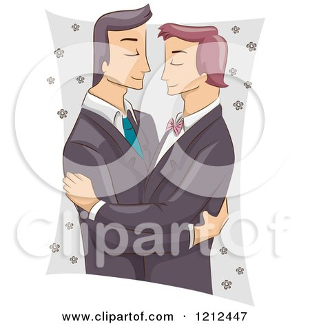 Cartoon of a Male Same Sex Couple Embracing at Their Wedding - Royalty Free Vector Clipart by BNP Design Studio