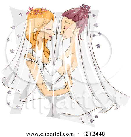 Cartoon of a Female Same Sex Couple Embracing at Their Wedding - Royalty Free Vector Clipart by BNP Design Studio