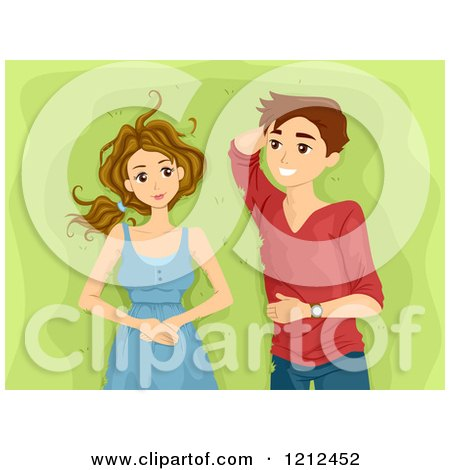 Cartoon of a Happy Teen Couple Laying in the Grass - Royalty Free Vector Clipart by BNP Design Studio