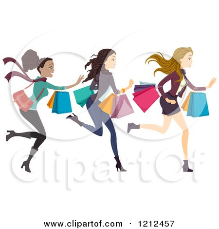 Cartoon of Three Happy Diverse Women Running with Shopping Bags - Royalty Free Vector Clipart by BNP Design Studio