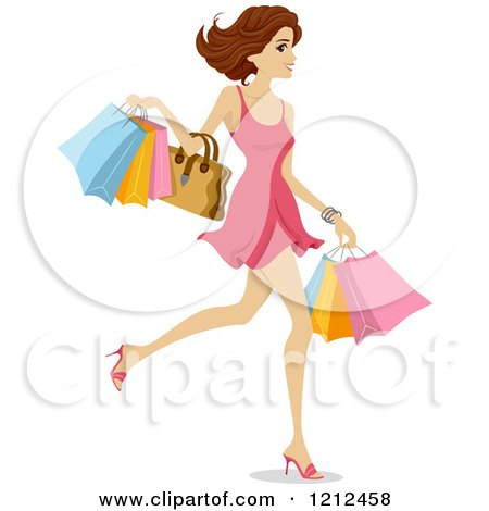 Cartoon of a Happy Woman Walking with Shopping Bags - Royalty Free Vector Clipart by BNP Design Studio