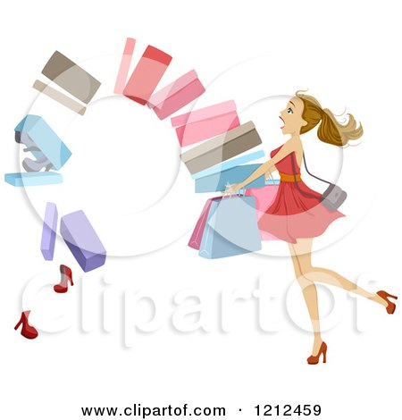 Cartoon of a Stack of Shoe Boxes Falling out of a Womans Arms - Royalty Free Vector Clipart by BNP Design Studio