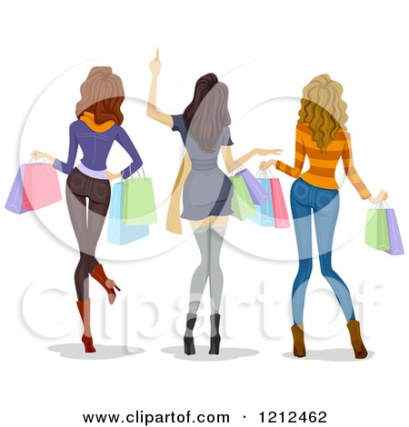Cartoon of a Rear View of Three Happy Women Carrying Shopping Bags - Royalty Free Vector Clipart by BNP Design Studio