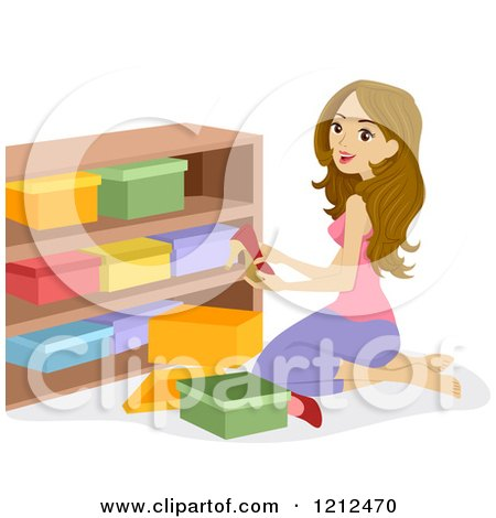 Cartoon of a Woman Arranging Shoe Boxes on a Shelf - Royalty Free Vector Clipart by BNP Design Studio