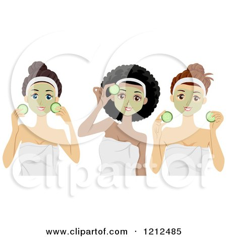 Cartoon of Diverse Women with Cucumber and Face Masks at the Spa - Royalty Free Vector Clipart by BNP Design Studio