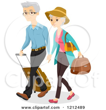 Senior Couple Traveling with Luggage Posters, Art Prints
