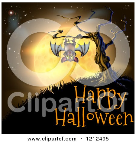 Cartoon of a Vampire Bat Hanging from a Spooky Tree Against an Orange Full Moon over Happy Halloween Text - Royalty Free Vector Clipart by AtStockIllustration