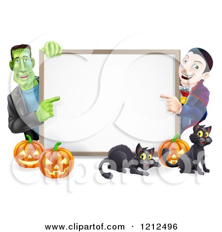 Cartoon of a Happy Vampire Frankenstein Pumpkins and Black Cats Around a Blank Sign - Royalty Free Vector Clipart by AtStockIllustration