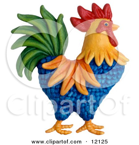 Clay Sculpture Clipart Colorful Rooster - Royalty Free 3d Illustration  by Amy Vangsgard