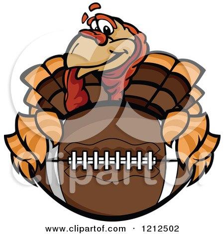 Cartoon Of A Turkey Bird Mascot Holding An American Football Thanksgiving Super Bowl Royalty Free Vector Clipart