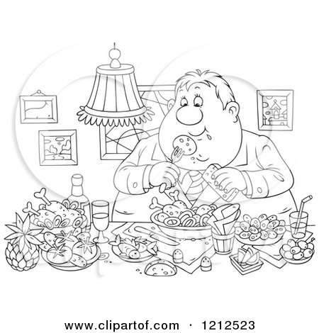 Cartoon of an Outlined Gluttonous Obese Man Eating a Feast - Royalty Free Vector Clipart by Alex Bannykh