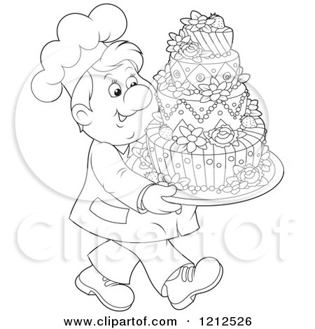 Cartoon of an Outlined Baker Carrying an Ornate Wedding Cake - Royalty Free Vector Clipart by Alex Bannykh