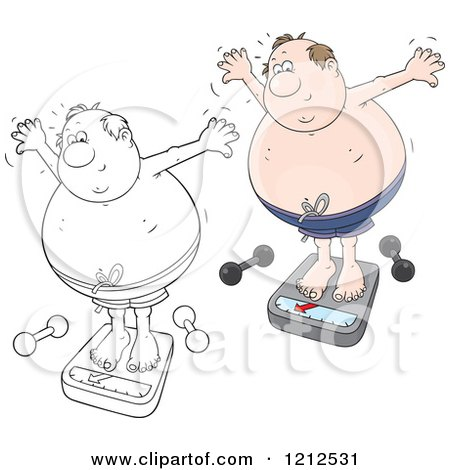 Cartoon of an Outlined and Colored Overweight Man Standing on a Scale with Dumbbells on the Floor - Royalty Free Vector Clipart by Alex Bannykh