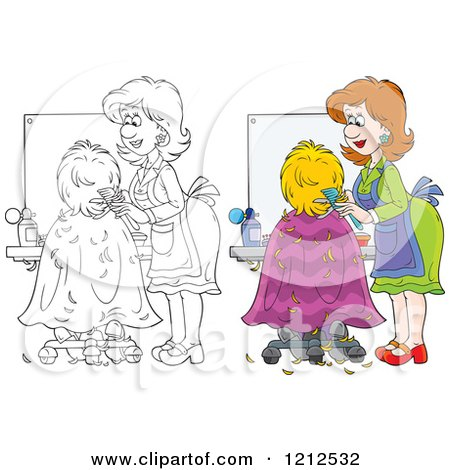 Cartoon of an Outlined and Colored Female Hairstylist Cutting a Clients Hair - Royalty Free Vector Clipart by Alex Bannykh